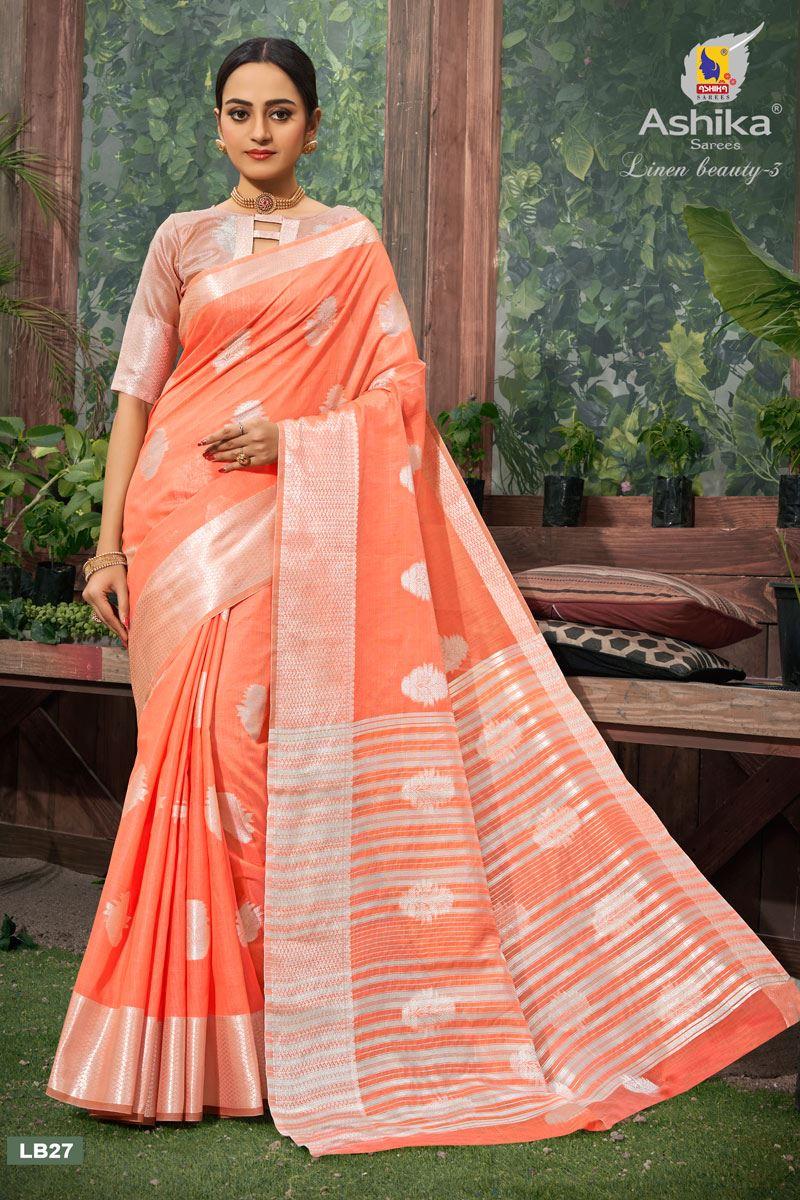 Peach Color Linen Fabric  Casual Zari Work Saree
