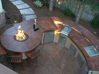 Outdoor Kitchen Kegerator Features Firepit and As Well As Grill
