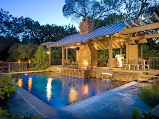 Outdoor Kitchen and Pool Contemporary Backyard with Hgtv