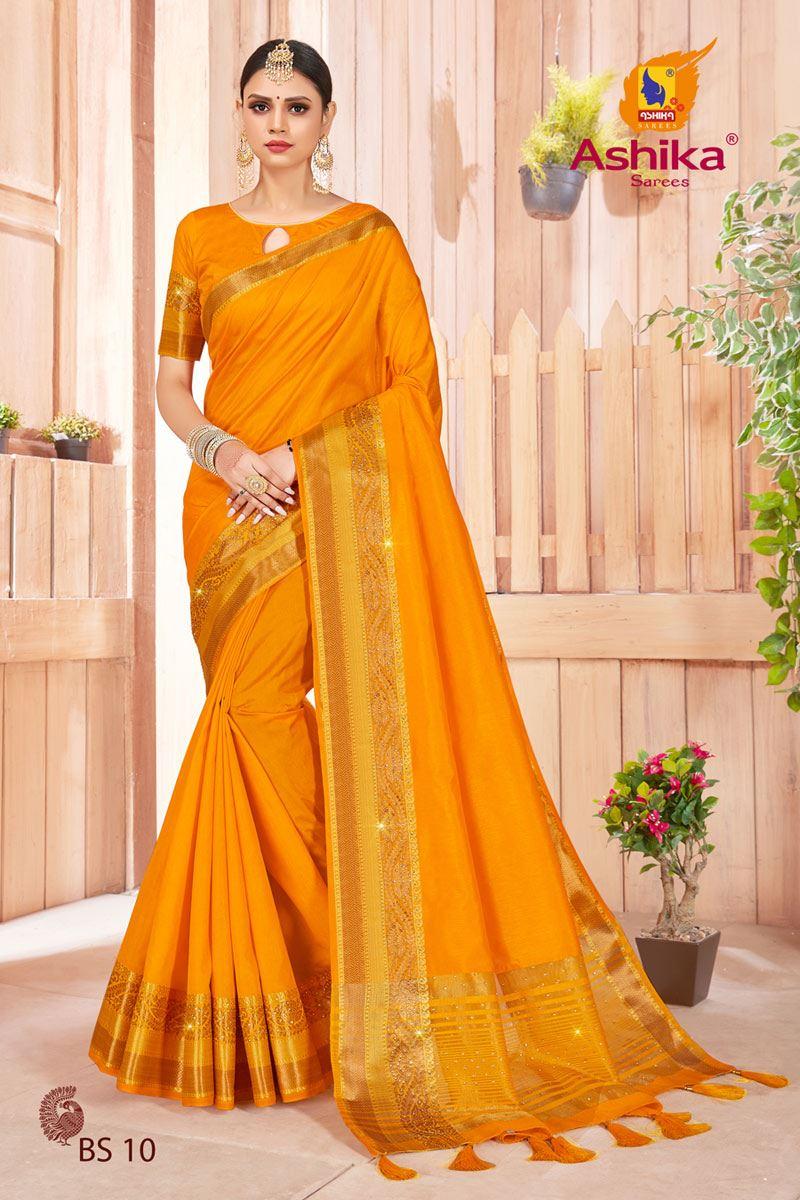 Golden Color Art Silk Fabric Stone Work Fancy Saree