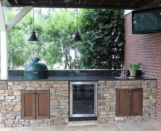 Green Egg Built in Outdoor Kitchen Entertament Center with Big The Big