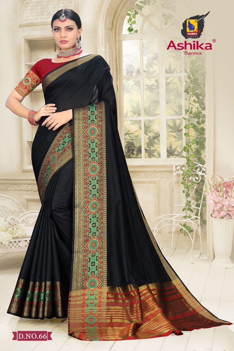 Black Color Cotton Silk Fabric Reception Wear Border Work Saree