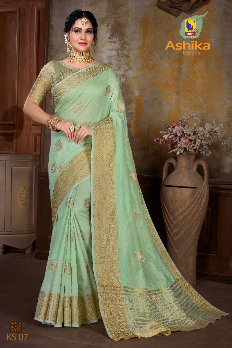 Parrot Green Colour Soft Mercerised Cotton Silk With Rich Gold And Silver Zari Butta