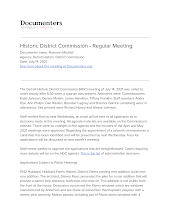 Historic District Commission - Regular Meeting
