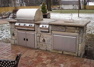 Outdoor Kitchen Burners Straight 9 with Grill Side Burner Storage And