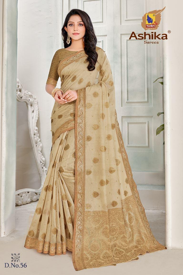 Cream Colour linen Fabric Fancy Saree