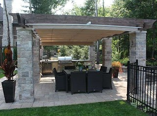 Outdoor Kitchen Canopy Retractable Cover in Terrebonne Shadefx Canopies