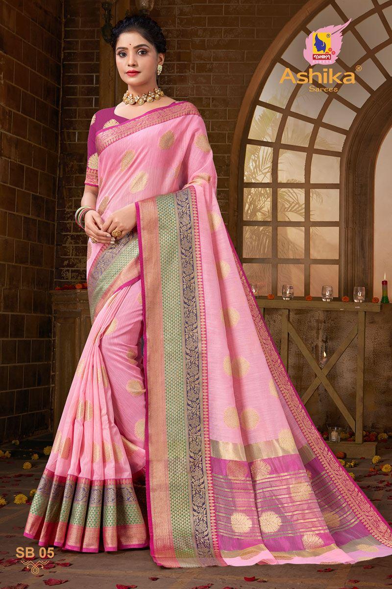 Pink Color Zari Work Designer Cotton Silk Fabric Function Wear Saree