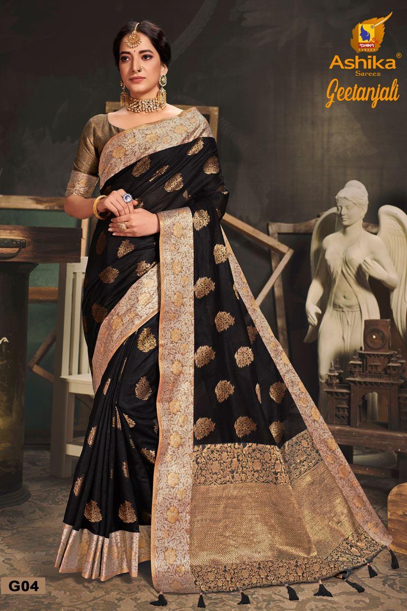 Black Color Cotton Silk Fabric Trendy Weaving Work Saree