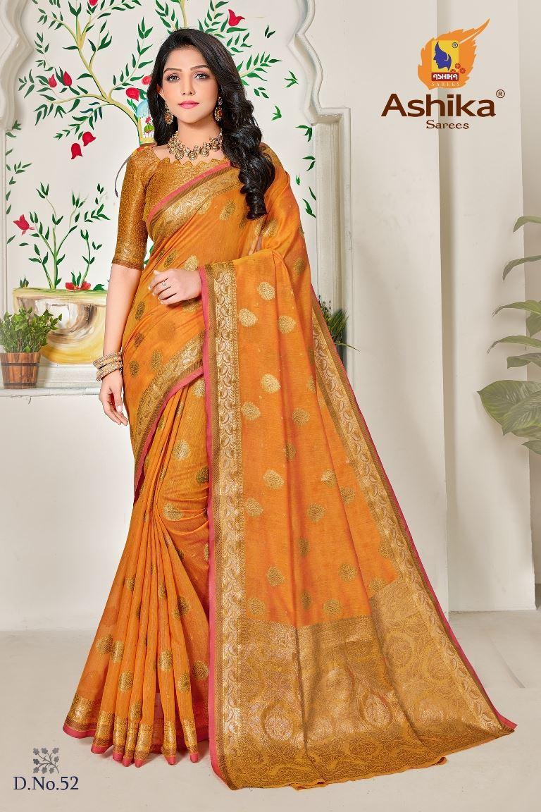 Gold Colour linen Fabric Fancy Saree