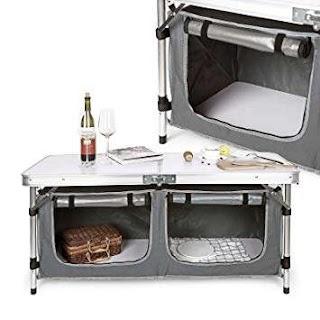 Camping Outdoor Kitchen Aluminium Double Folding Cupboard Shelf