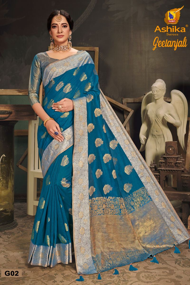 Sky Blue Color Cotton Silk Fabric Trendy Weaving Work Saree