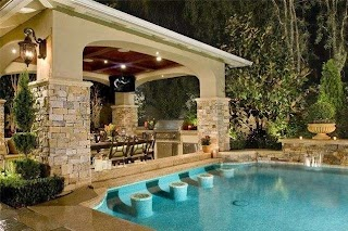 Backyard Designs with Pool and Outdoor Kitchen 20 Lavish Side