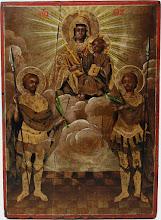 """Icoana """"Maica Domnului pe tron"""" cu Sfintii Mari Mucenici, sec al XIX-lea"""