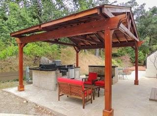 Outdoor Kitchen Pavilion Del Norte Redwood Kit for S