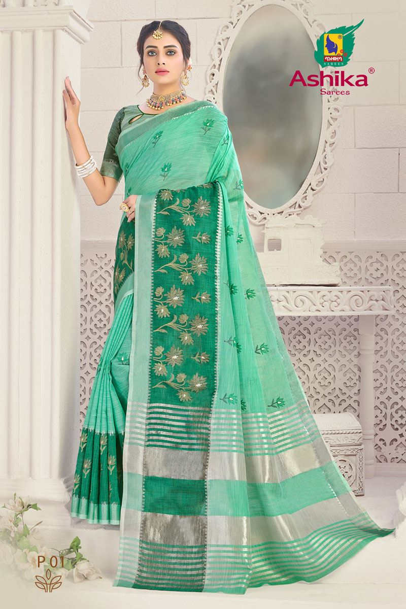 Sea Green Color Linen Fabric Embroidered Daily Wear Simple Saree
