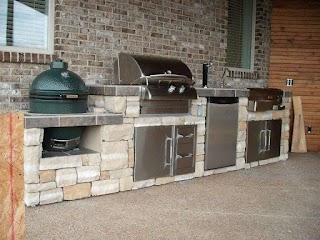 Outdoor Kitchen Gas Grill Big Green Egg and Island Outside Backyard