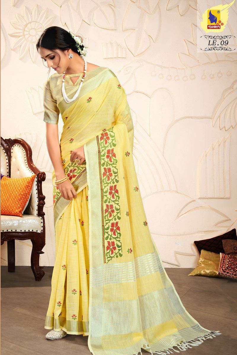 Yellow Color Embroidered Linen Fabric Fancy Saree