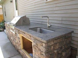 Outdoor Kitchen Plumbing Brick with Sink Against House Google Search