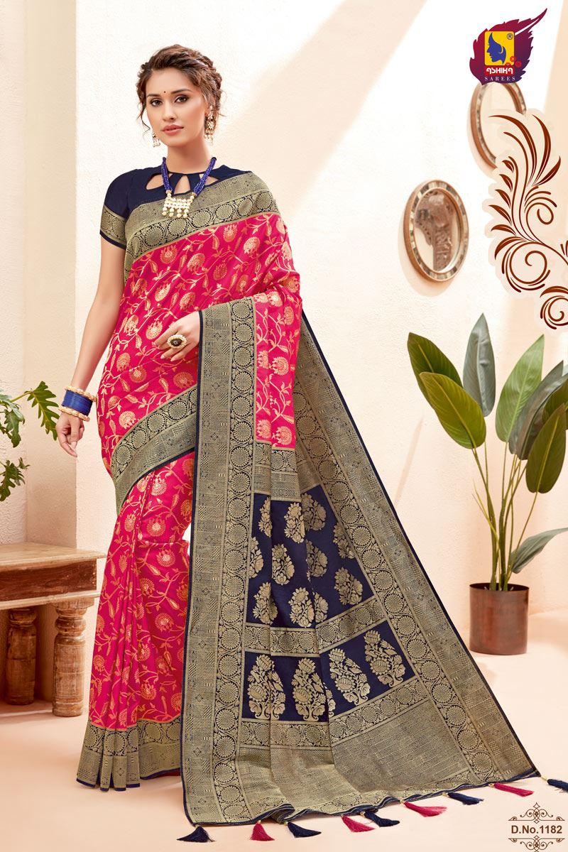 Rani Color Silk Fabric Zari Work Sangeet Wear Fancy Saree