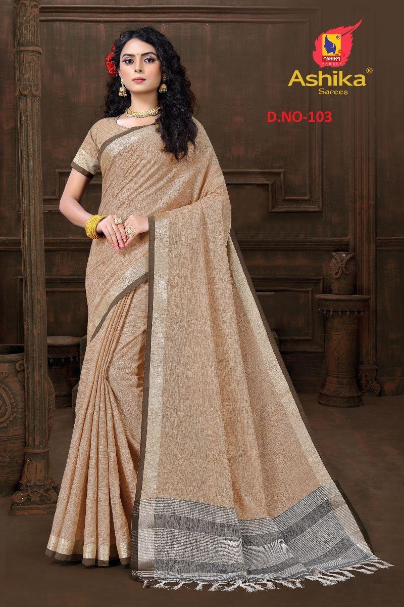 Brown Colour Cotton Linen Saree