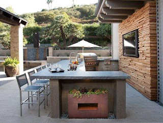 U Shaped Outdoor Kitchen Otdoor with Concrete Contertops Transitional