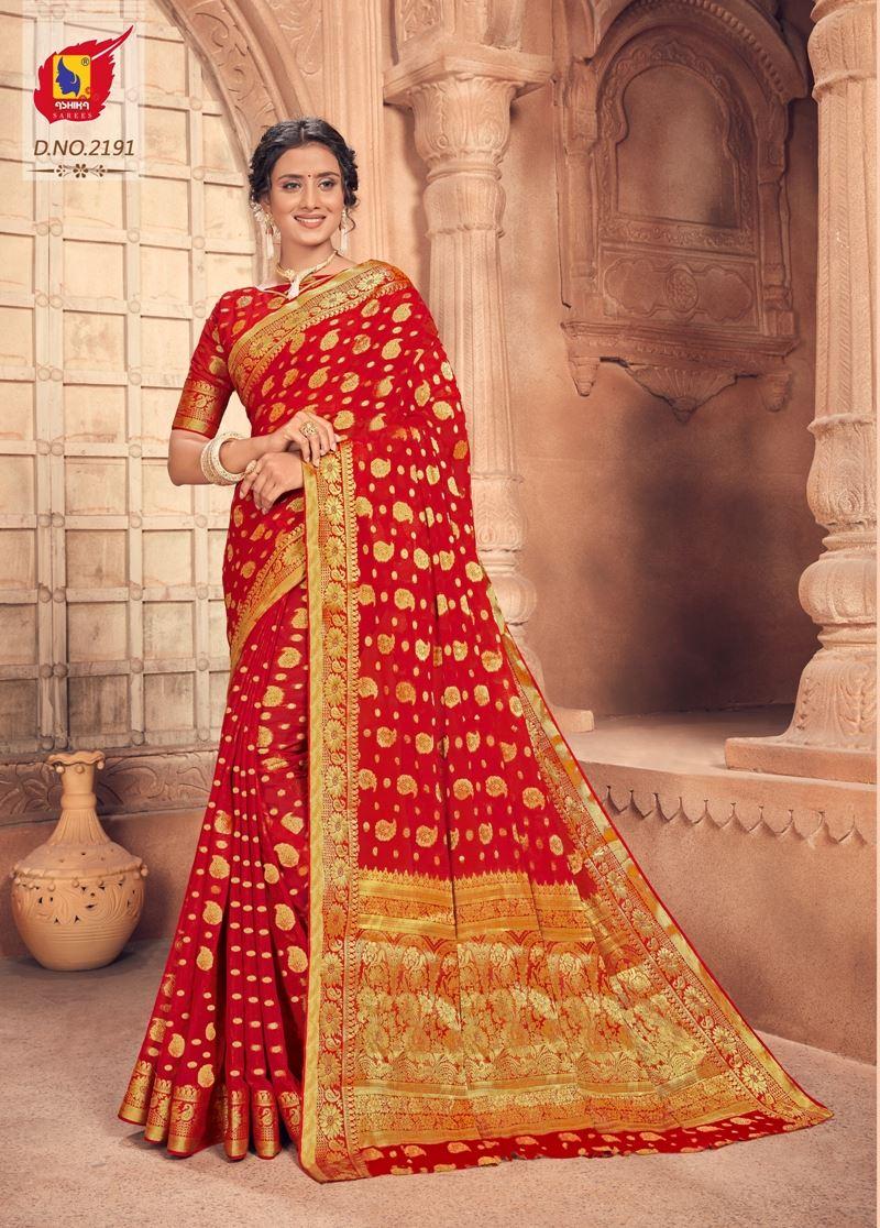 Red Colour Chiffon Saree