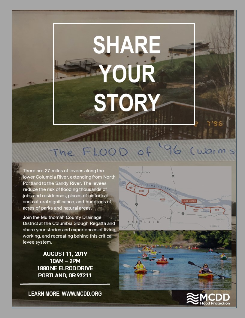"""flyer entitled """"share your story"""" encouraging people to share their stories of living, working, or recreating in the Columbia Slough watershed and behind the Columbia Corridor levee system during the 24th annual regatta"""