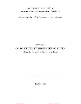 HVQS.Giáo Trình Cơ Sở Kỹ Thuật Thông Tin Vô Tuyến - Trần Văn Khẩn & Đỗ Quốc Trinh, 208 Trang.pdf