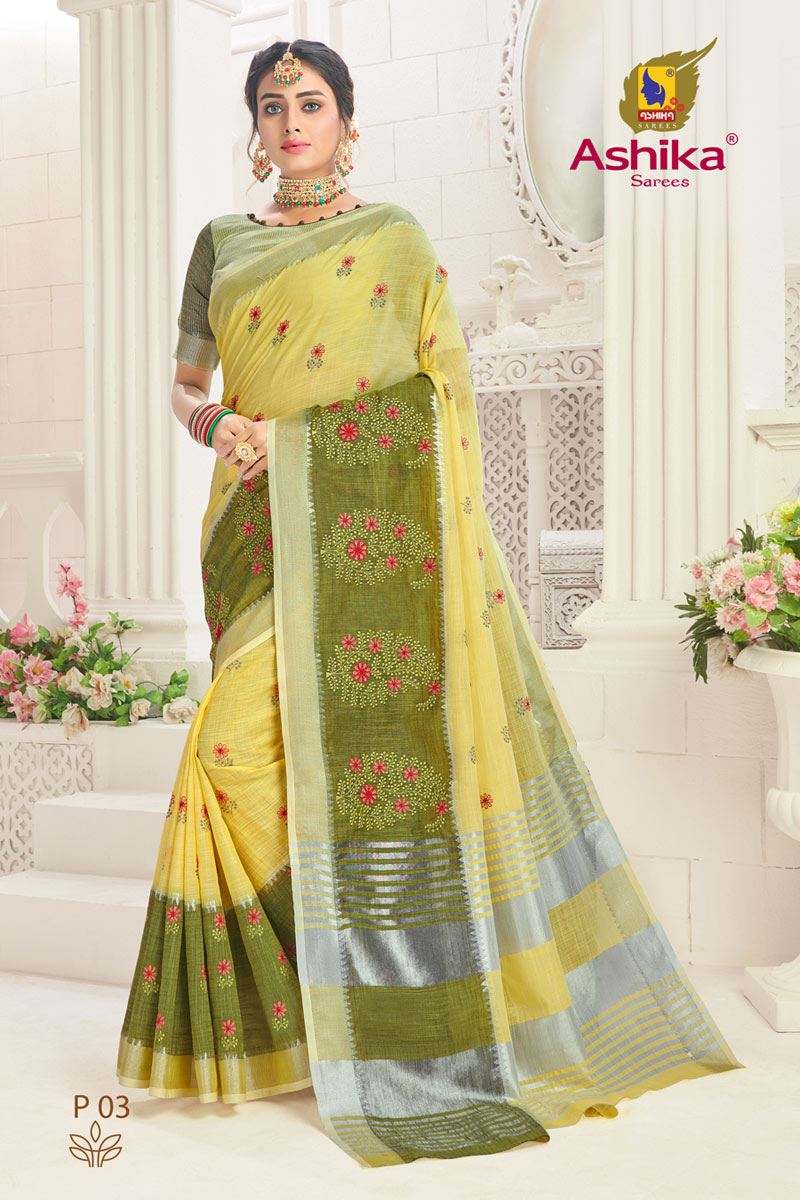 Yellow Color Linen Fabric Embroidered Daily Wear Simple Saree