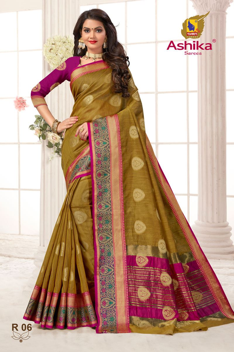 Light Brown Color Weaving Work Function Wear Weaving Work Stylish Saree