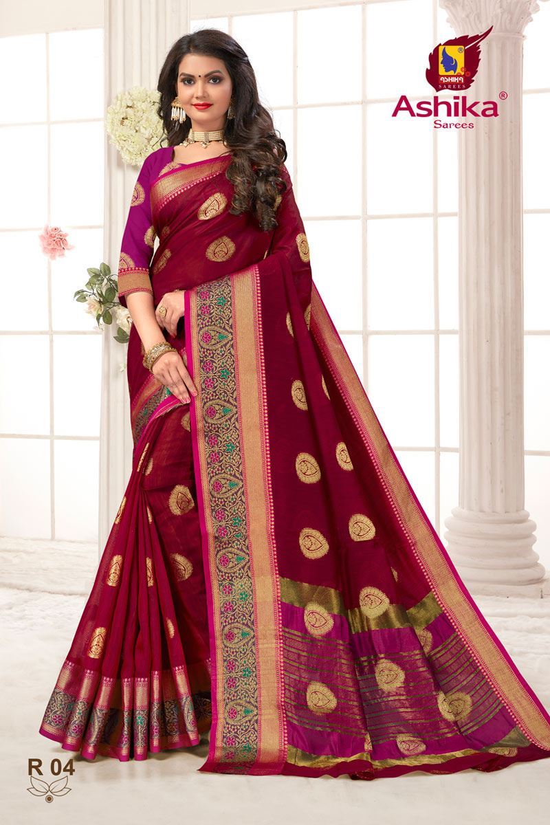 Red Color Weaving Work Function Wear Weaving Work Stylish Saree