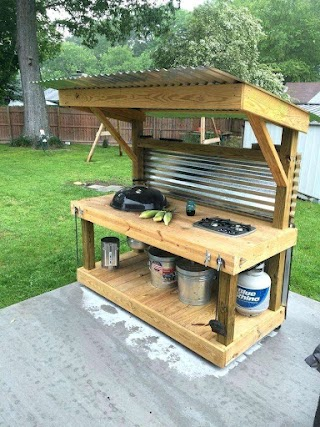 Simple Outdoor Kitchen Cool Kettle Grill Islands in Design And