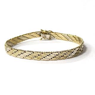 18K Gold Etched Link Bracelet