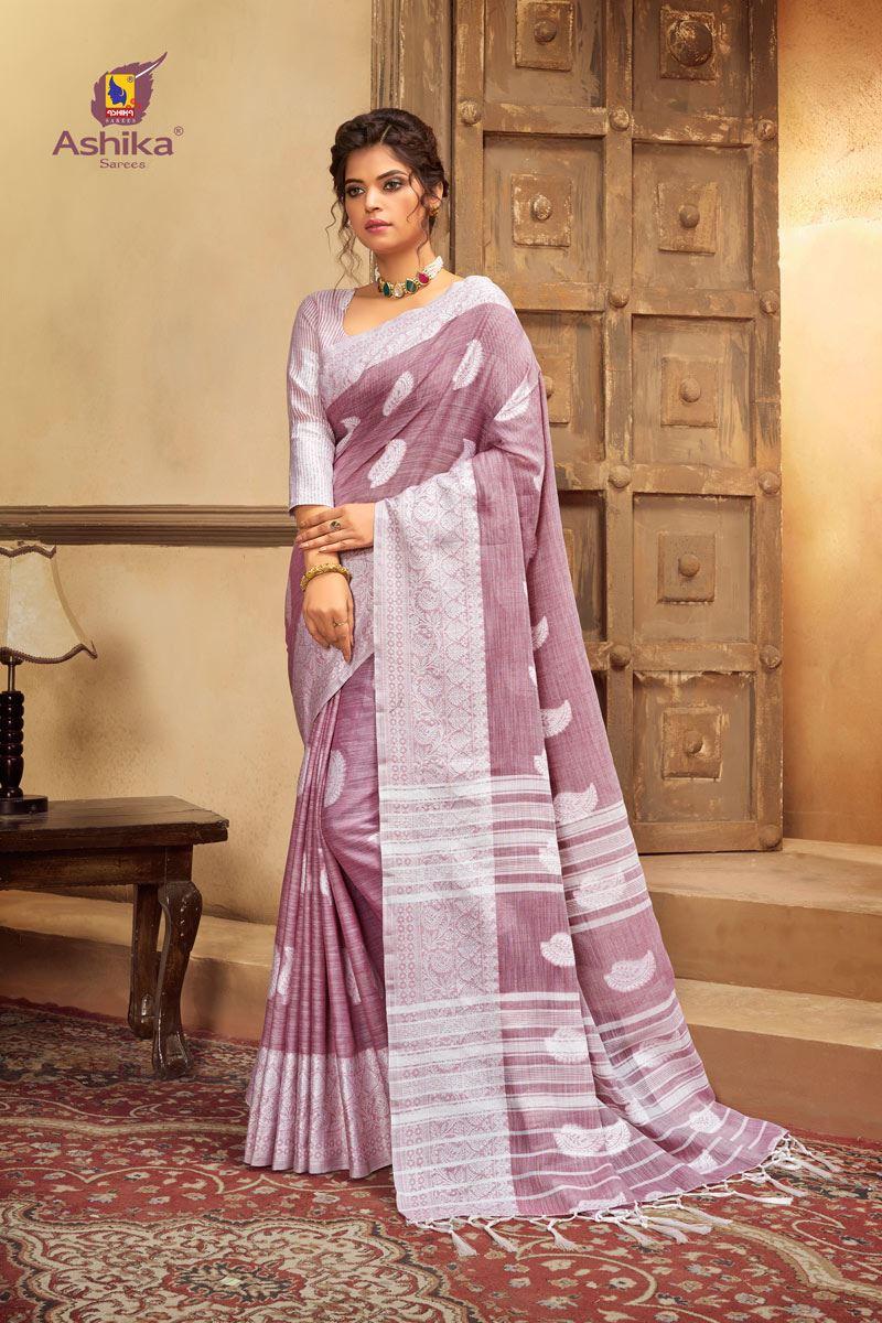 Lavender Color Cotton Linen Fabric Stylish Resham Work Saree
