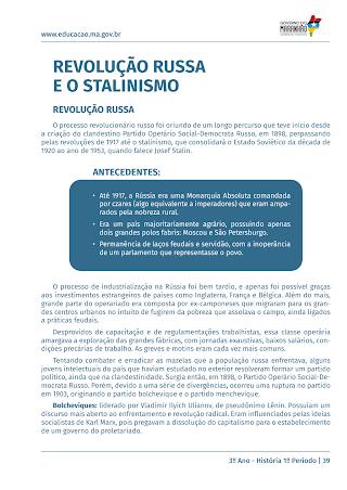 A REVOLUÇÃO RUSSA E O STALINISMO