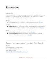 Budget Hearing Sessions, 11am, 1pm, 2pm, 3pm, & 4pm