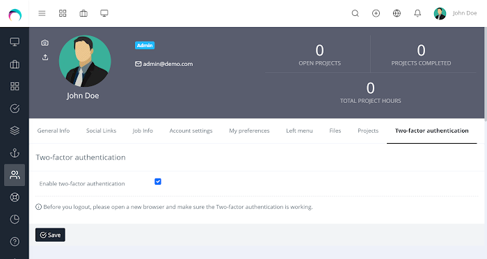 Two-factor Authentication for RISE CRM