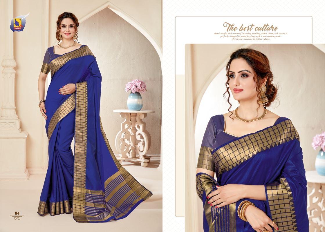 Navy Blue Colour Cotton Silk Saree