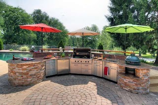 Outdoor Kitchen and Patio Poolside Contemporary St Louis By