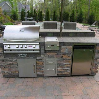 Outdoor Kitchen Fridge Straight in Natural Stone Archadeck Living
