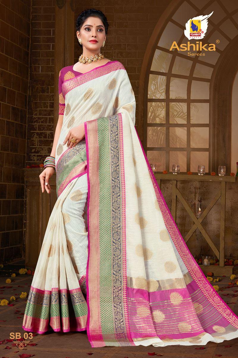 Off White Color Zari Work Designer Cotton Silk Fabric Function Wear Saree