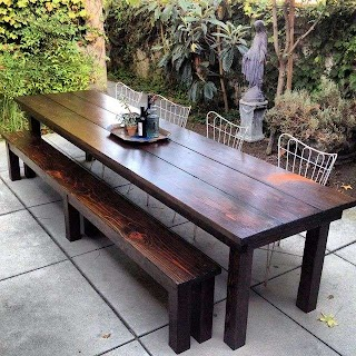 Outdoor Kitchen Table Simple Dining Area with Rustic Furniture of Wooden
