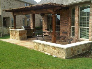 Houston Outdoor Kitchens Kitchen with Cedar Pergola Lone Star
