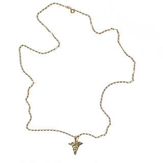 14K Gold Chain & Caduceus Pendant Necklace