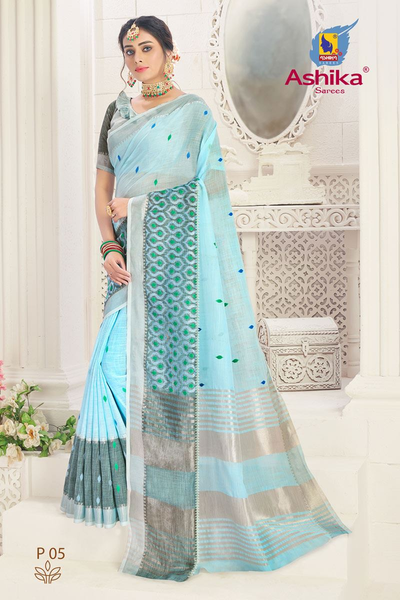 Cyan Color Linen Fabric Embroidered Daily Wear Simple Saree