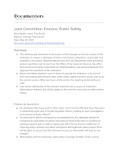 Joint Committee: Finance; Public Safety