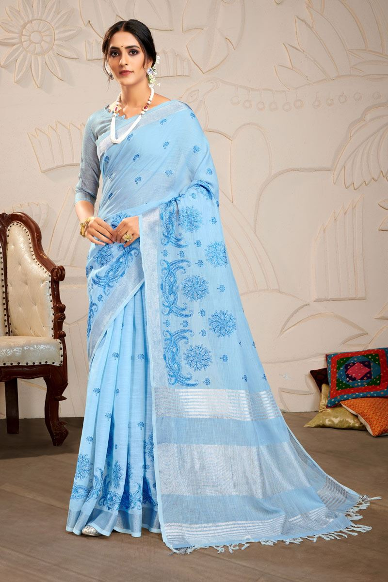 Sky Blue Color Embroidered Linen Fabric Fancy Saree