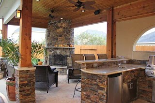 Outdoor Kitchens with Fireplace and S Contemporary Patio Houston