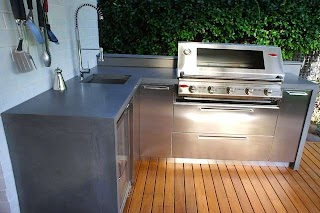 Outdoor Kitchen Benchtops S with Polished Concrete Stainless Steel